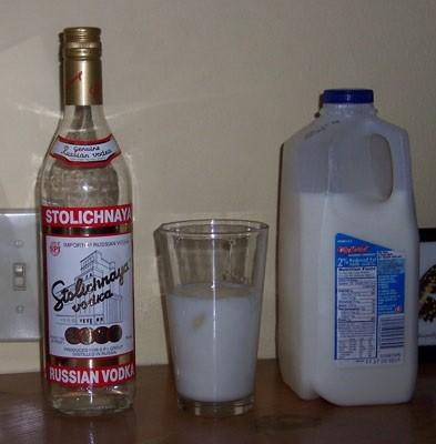 С какой целью водку запивают молоком?