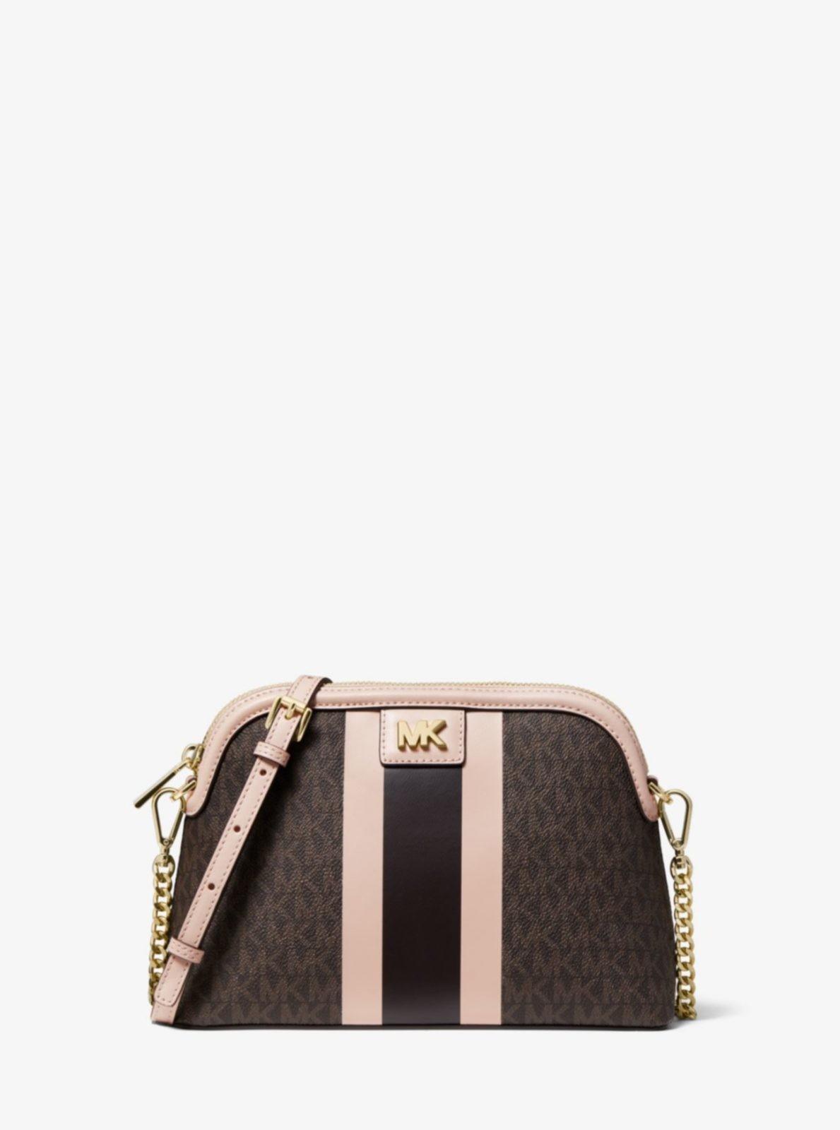 Большая сумка через плечо с логотипом в полоску Michael Kors
